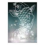 modern romantic blue glowing Zodiac Pisces party 5x7 Paper Invitation Card