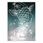 modern romantic blue glowing Zodiac Pisces party Invite