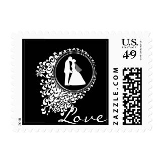 Modern Romantic Couple Silhouette Postage Stamp