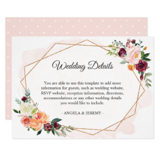 Modern Romantic Floral Wedding Reception Details Card