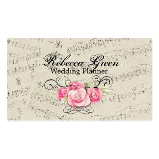 Modern Romantic Music notes Music Wedding Business Card