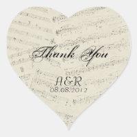 Modern Romantic Music notes Music Wedding Heart Sticker
