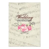 Modern Romantic Music notes Music Wedding Invitation
