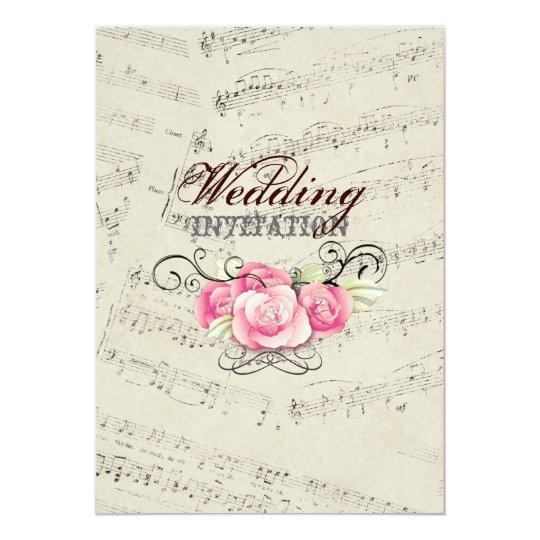Modern Wedding Music: Modern Romantic Music Notes Music Wedding Invitation