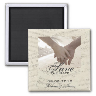Modern Romantic Music Wedding save the date 2 Inch Square Magnet