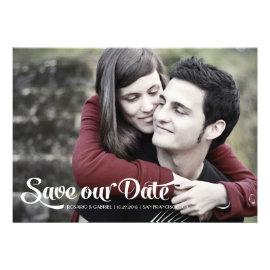 Modern Romantic Script Photo Save the Date Cards