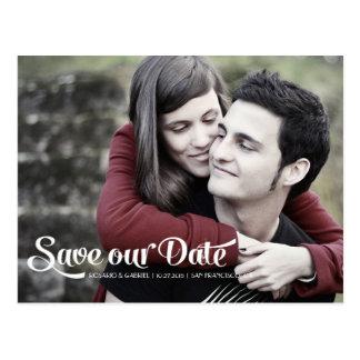Modern Romantic Script Photo Save the Date Postcard