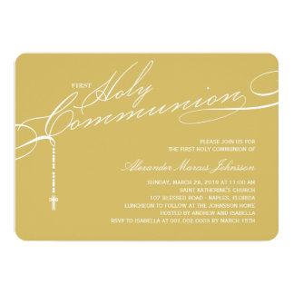"Modern Rosary First Holy Communion Stylish Invite 5"" X 7"" Invitation Card"