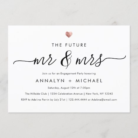 Modern Rose Future Mr and Mrs Engagement Party Invitation