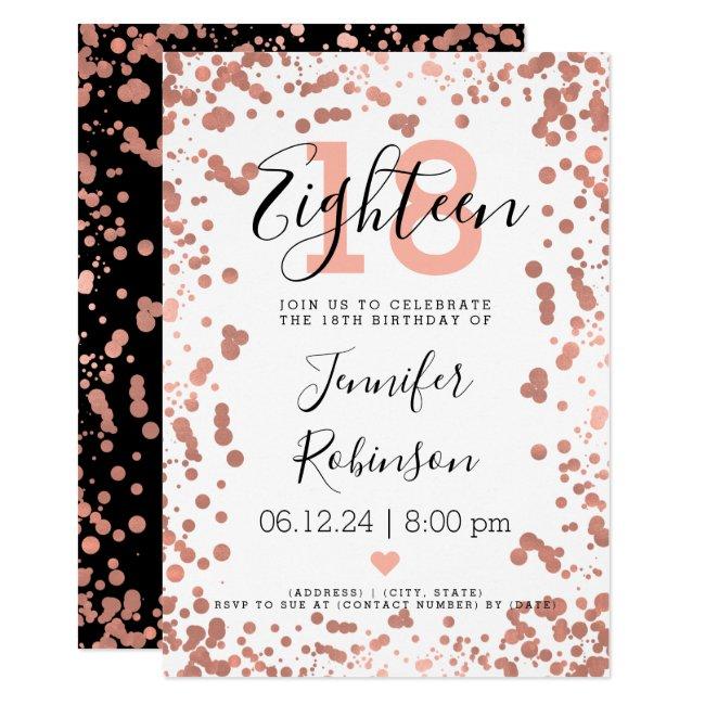 Modern Rose Gold 18th Birthday Foil Dots Invitation