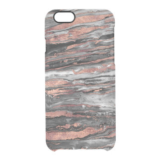 Modern rose gold abstract marbleized paint clear iPhone 6/6S case
