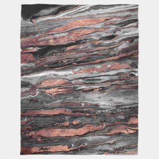 Modern rose gold abstract marbleized paint fleece blanket