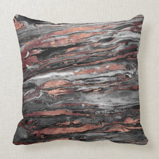 Modern rose gold abstract marbleized paint throw pillow