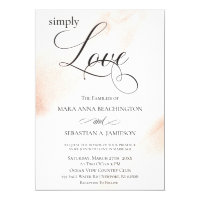 *~* Modern Rose Gold Abstract Watercolor Wedding Invitation