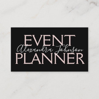 Modern Rose Gold and Black Event Planner Business Card