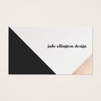Modern Rose Gold and Black Geometric Business Card