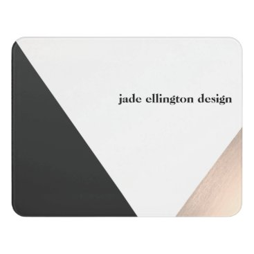 Professional Business Modern Rose Gold and Black Geometric Business Card Door Sign