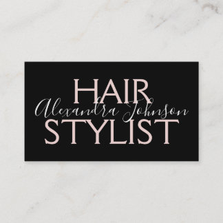 Modern Rose Gold and Black Hair Stylist Business Card
