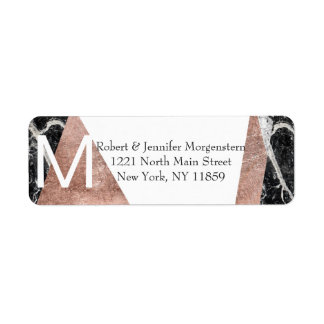 Modern Rose Gold and Marble Monogram Address Label
