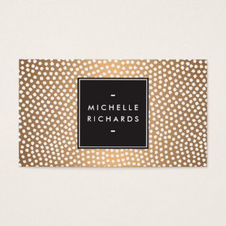 Modern Rose Gold and White Confetti Dots Business Card