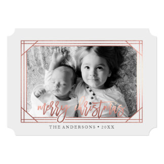 Modern Rose Gold Art Deco | Holiday Photo Card