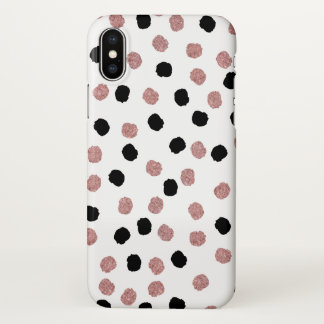 Modern rose gold black abstract brush polka dots iPhone x case