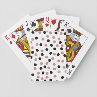 Modern rose gold black abstract brush polka dots playing cards