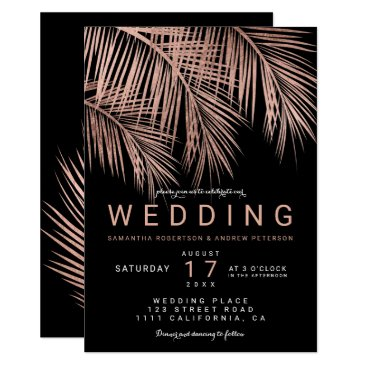 Beach Themed Modern rose gold black tropical palm tree wedding card