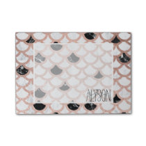 Modern rose gold black white marble scallop post-it notes
