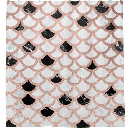 Modern Rose Gold Black White Marble Scallop Shower Curtain