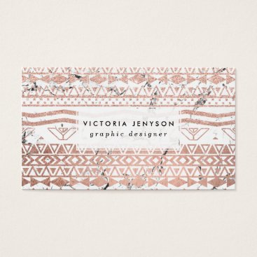 Aztec Themed Modern rose gold blush aztec on white marble business card