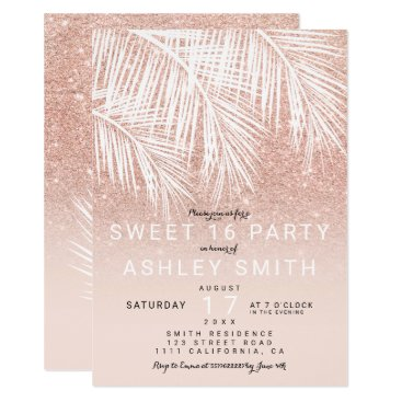 Beach Themed Modern rose gold blush palm tree elegant Sweet 16 Card