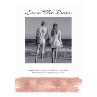 Modern Rose Gold Brush Save The Date Postcard
