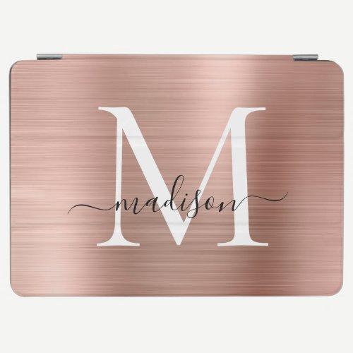 Modern Rose Gold Brushed Metal Monogram Script iPad Air Cover