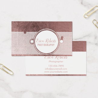Modern Rose Gold Camera Photography Business Card