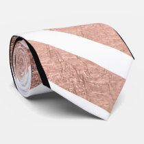 Modern rose gold chevron black marble stripes neck tie