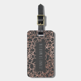 Modern Rose Gold Circles on Charcoal Black Luggage Tag