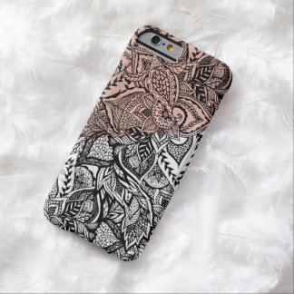Modern rose gold color block floral hand drawn barely there iPhone 6 case