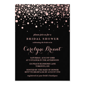 Modern Rose Gold Confetti Black Bridal Shower Card