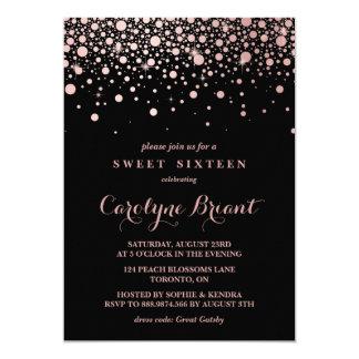 Modern Rose Gold Confetti Black Sweet Sixteen Card
