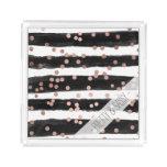 Modern rose gold confetti black watercolor stripes acrylic tray