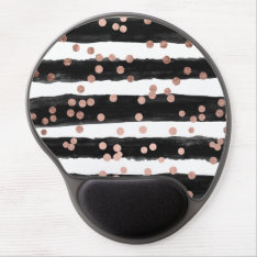 Modern Rose Gold Confetti Black Watercolor Stripes Gel Mouse Pad at Zazzle