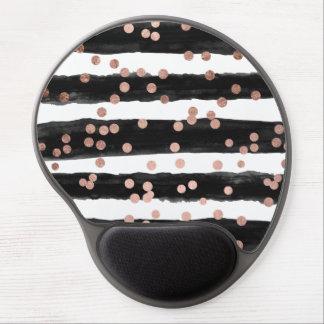 Modern rose gold confetti black watercolor stripes gel mouse pad