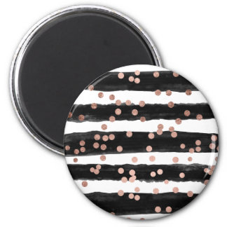 Modern rose gold confetti black watercolor stripes magnet