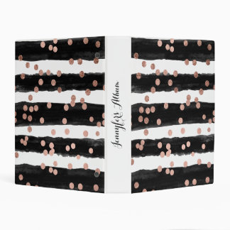 Modern rose gold confetti black watercolor stripes mini binder
