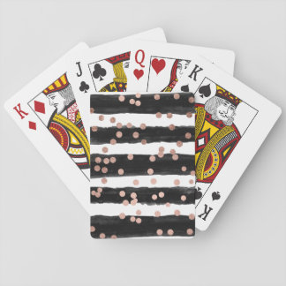 Modern rose gold confetti black watercolor stripes playing cards