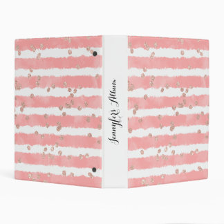 Modern rose gold confetti pink watercolor stripes mini binder