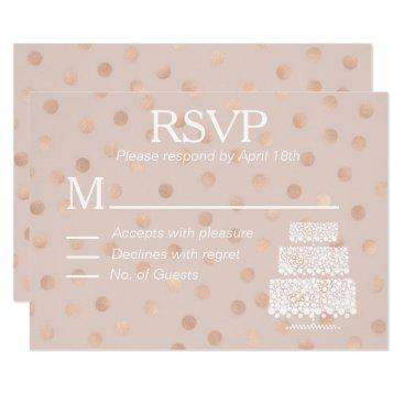 Wedding Themed Modern Rose Gold Confetti RSVP Wedding Cake Card