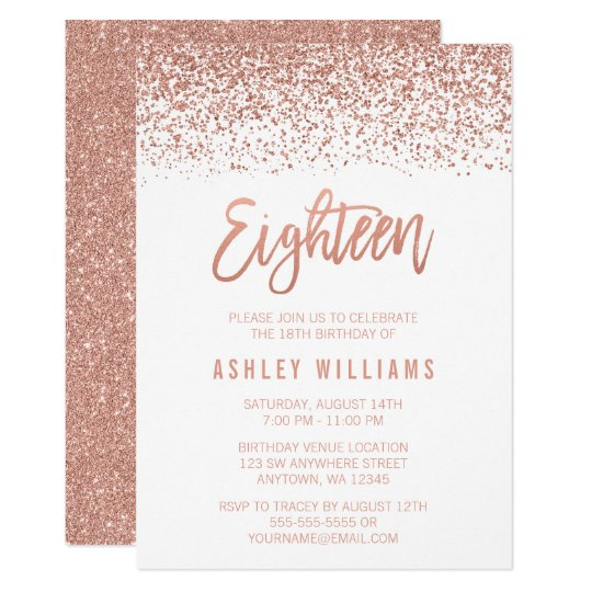 Personalised Birthday Invitations Party Invites 18th Modern Rose Gold Faux Glitter Card