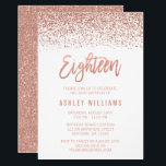 "Modern Rose Gold Faux Glitter 18th Birthday Invitation<br><div class=""desc"">Glamorous rose gold faux glitter eighteenth birthday invitations. Designs are flat printed illustrations/graphics - NOT ACTUAL GLITTER.</div>"